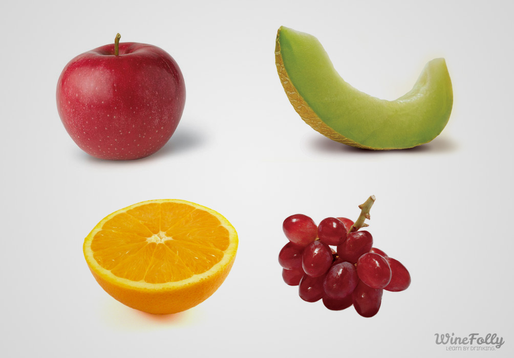 orange-apple-grape-melon-on-white-background